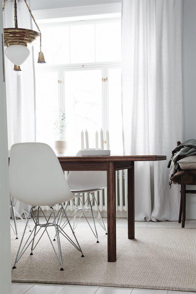 dining room, ruokailutila, pellavaverhot