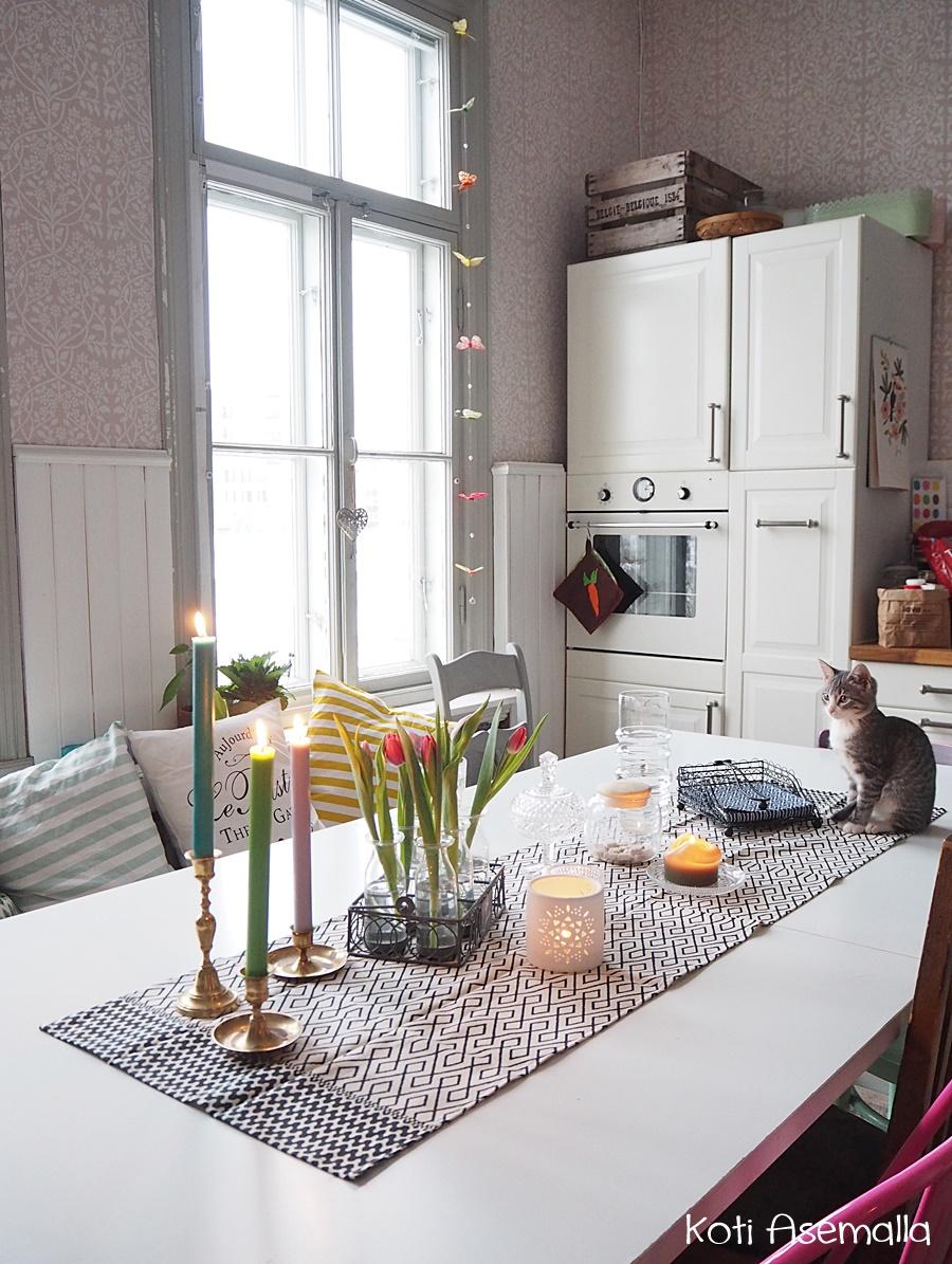 Ripaus kevään värejä keittiössä